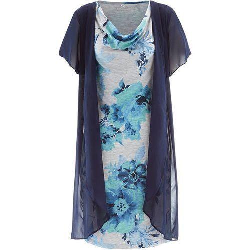 Sukienka shirtowa 2 w 1 bonprix jasnoszary melanż - indygo z nadrukiem, w wielu rozmiarach