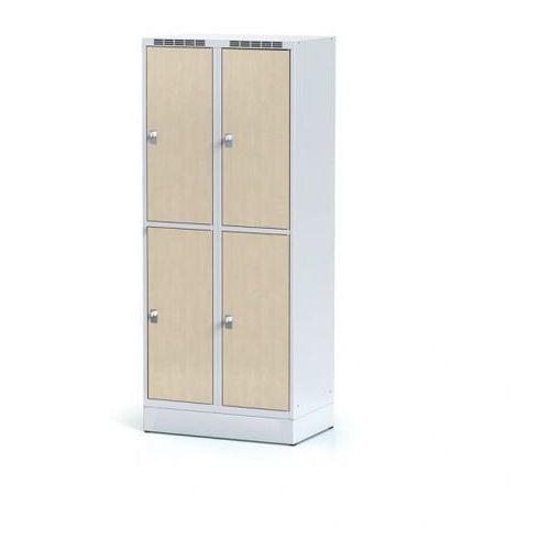 Szafka ubraniowa 4 drzwi 400 mm na cokole, drzwi LPW, brzoza, zamek cylindryczny