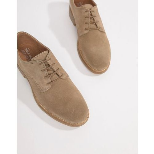 River island suede brogues with sole detail in sand - stone