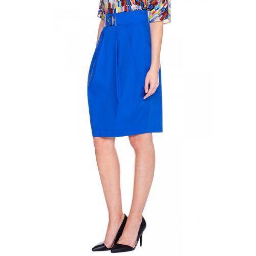 Niebieska spódnica ze srebrnym elementem - Bialcon, kolor niebieski