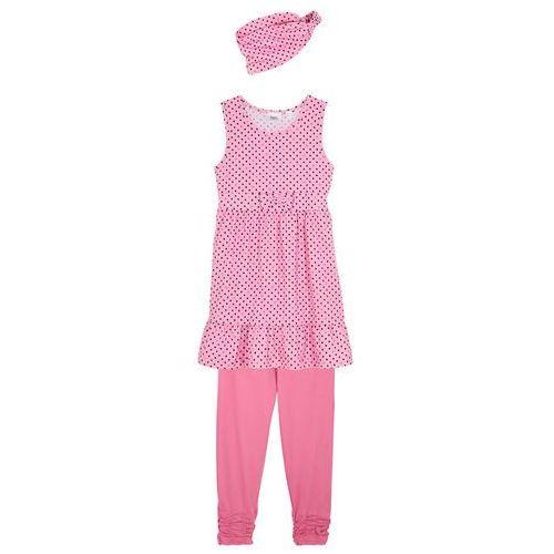 Bonprix Sukienka dziewczęca + legginsy 3/4 + opaska (3 części) jasnoróżowy + matowy różowy