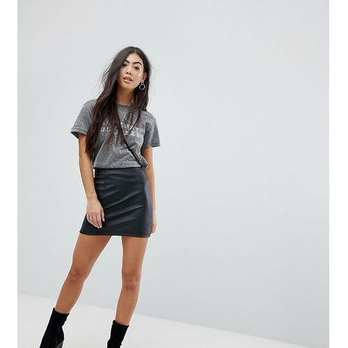ASOS DESIGN Petite sculpt me leather look mini skirt - Black, kolor czarny