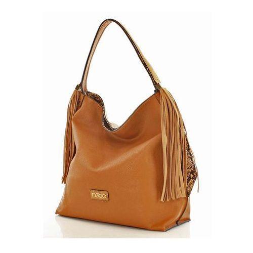 Kamelowa torba miejska z frędzlami marki Verostilo