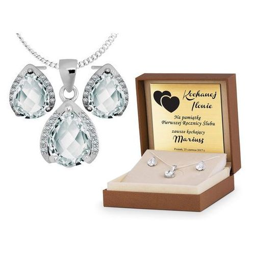 Murrano Srebrny komplet zestaw biżuterii 925 z grawerem ys07