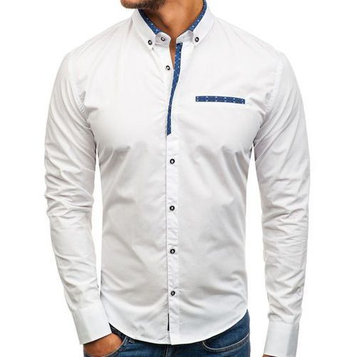 Koszula męska elegancka z długim rękawem biała Bolf 8802, kolor biały
