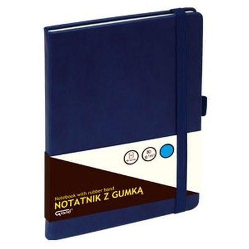 Notatnik GRAND z gumką granatowy A5/80 kartek kratka - KW TRADE (5903364254391)