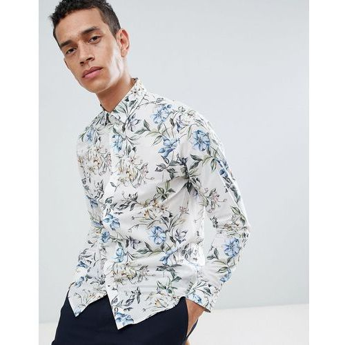slim short sleeve shirt with floral print - white marki Selected homme