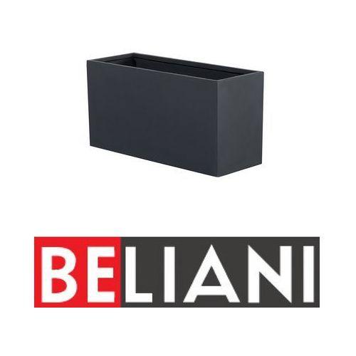Beliani Doniczka czarna - ogrodowa - balkonowa - ozdobna - 60x25x30 cm - orta (4260580923694)
