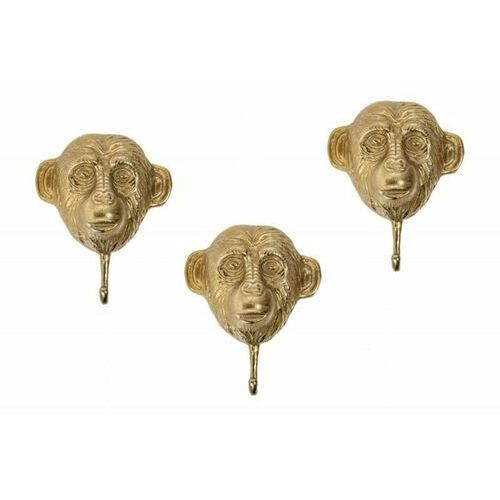 Sofa.pl Invicta zestaw wieszaków three apes 3 - złote, metal, aluminium