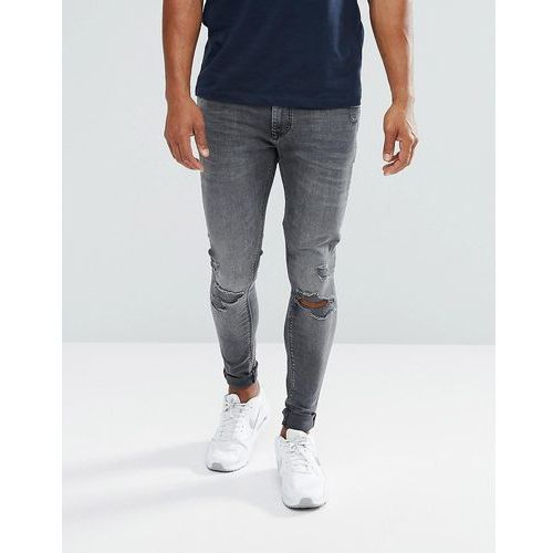 super skinny jeans with knee rips in black wash - black marki River island