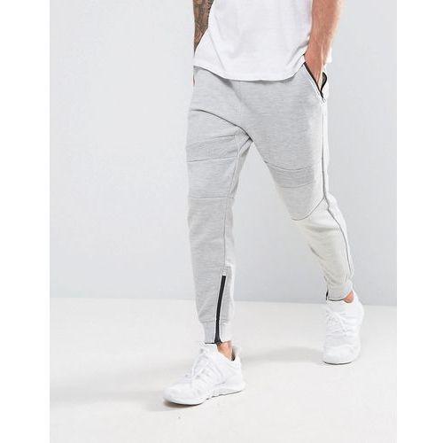 Pull&Bear Panel Joggers With Zip Hem In Light Grey - Grey, 1 rozmiar