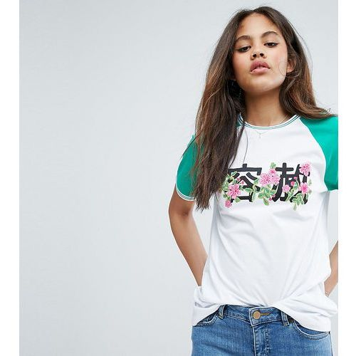 t-shirt with contrast tipping and chinoserie floral print - multi, Asos tall