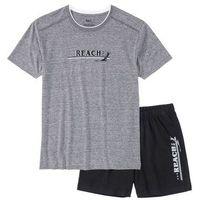 Piżama z krótkimi spodenkami szary melanż - czarny marki Bonprix