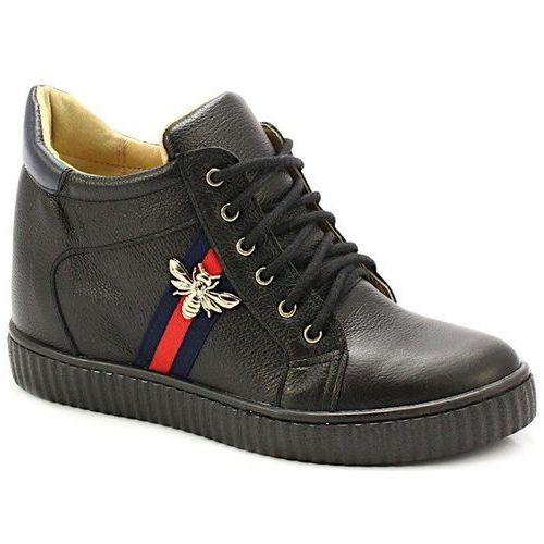 TYMOTEO 2809 CZARNE - Sneakersy z koturną - Granatowy ||Czarny, kolor niebieski