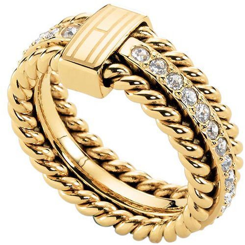 Tommy Hilfiger Piękny pierścień pozłacana kryształami TH2700602 (obwód 58 mm) (2376873877376)