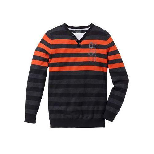 Sweter Regular Fit bonprix antracytowy melanż- ciemnopomarańczowy w paski, w 5 rozmiarach