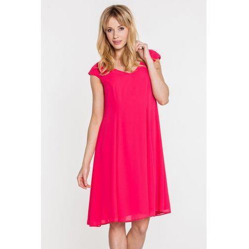 Różowa sukienka z szyfonowej tkaniny - Vito Vergelis