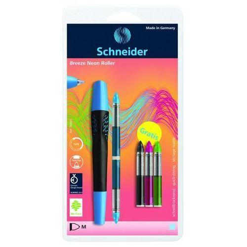 Schneider Pióro kulkowe breeze neon m niebieskie/czarne + 5 x kartridż blister (4004675094414)