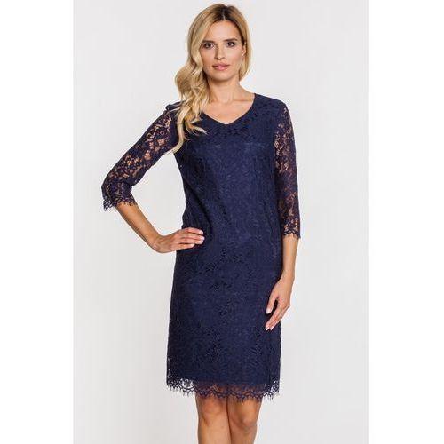 Prosta sukienka z granatowej koronki - Far Far Fashion, kolor niebieski