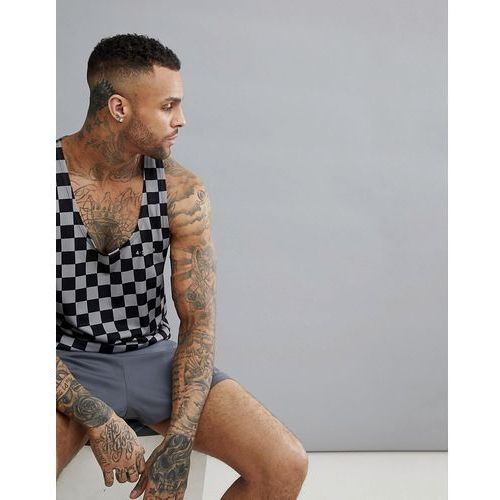 ASOS 4505 Vest With Extremer Racer Back And Checkerboard Print - Black