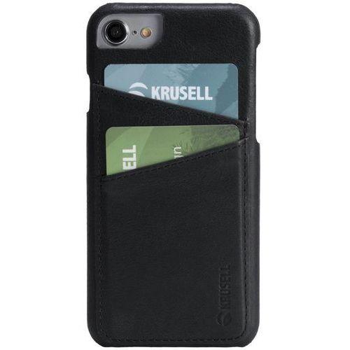 Krusell sunne 2 card cover - skórzane etui iphone 8 / 7 / 6s / 6 z dwoma zewnętrznymi kieszeniami na karty (black)