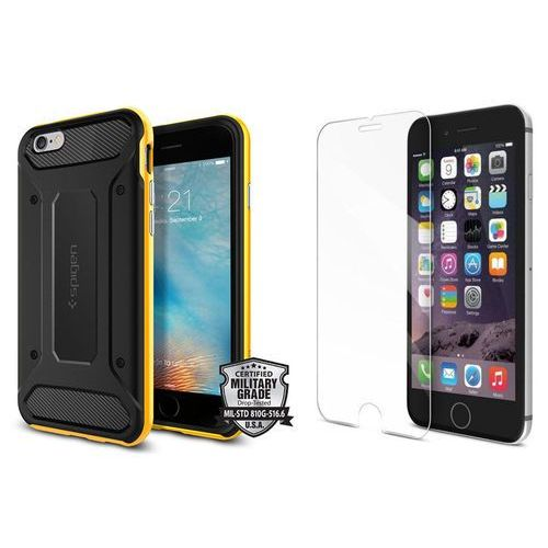 Sgp - spigen / perfect glass Zestaw | spigen sgp neo hybrid carbon reventon yellow | obudowa + szkło ochronne perfect glass dla modelu apple iphone 6 / 6s