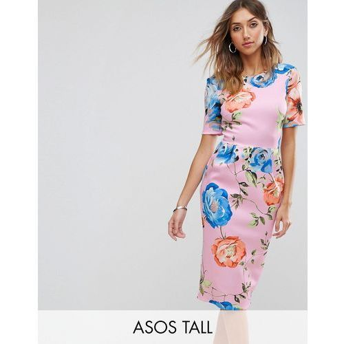 ASOS TALL Midi Wiggle Dress In Pink Floral Print - Pink, kolor różowy
