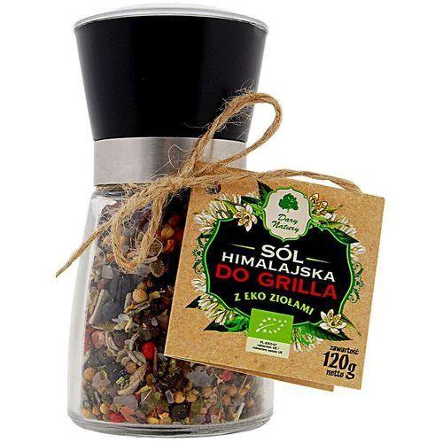 Sól himalajska w młynku z ziołami bio do grilla 120 g - dary natury marki Dary natury - przyprawy i zioła bio