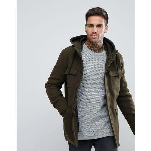 wool jacket with hood and double pocket in khaki - green marki Bershka