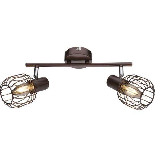 Globo Lampa listwa oprawa sufitowa akin 2x40w e14 brązowa, chrom 54801-2