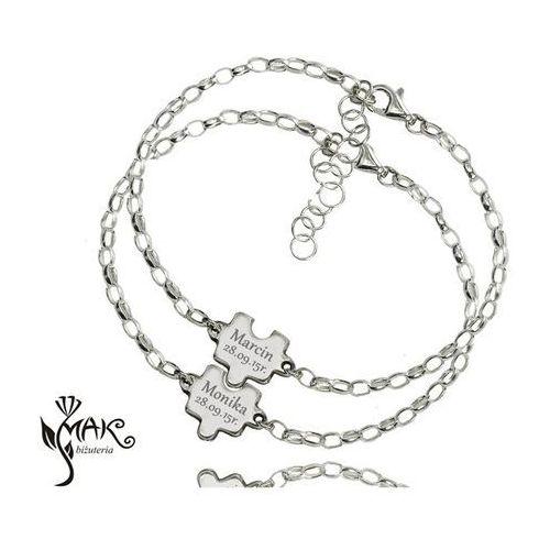 Br834 puzzle komplet bransoletki z grawerunkiem laser marki Mak-biżuteria