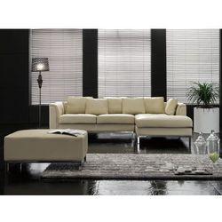 Nowoczesna sofa z pufą ze skóry naturalnej kolor beżowy L - kanapa OSLO, kup u jednego z partnerów