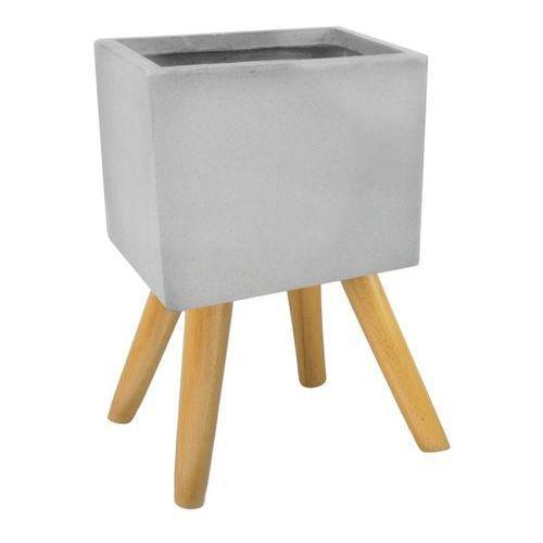 Osłonka doniczki kwadratowa na nogach zewnętrzna 30 cm szara (5905925103087)
