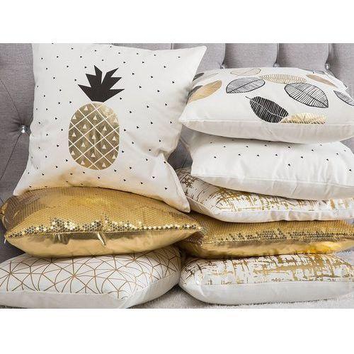 Beliani Poduszka dekoracyjna ananas bawełniana czarna/złota 45 x 45 cm (4260624117775)