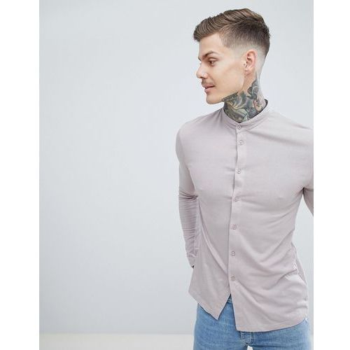 muscle fit jersey shirt with grandad collar in light brown - brown marki Boohooman