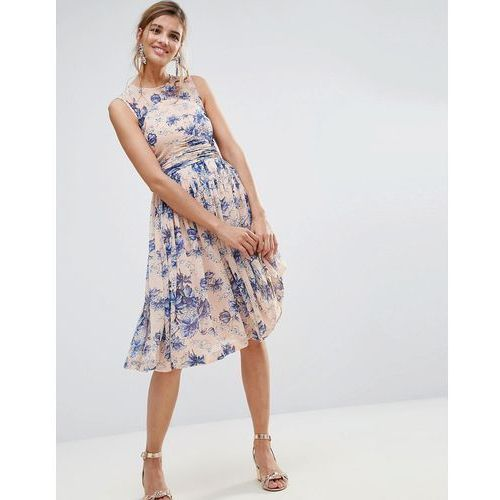 Asos  premium midi dress with ruched panel detail in pretty floral print - multi