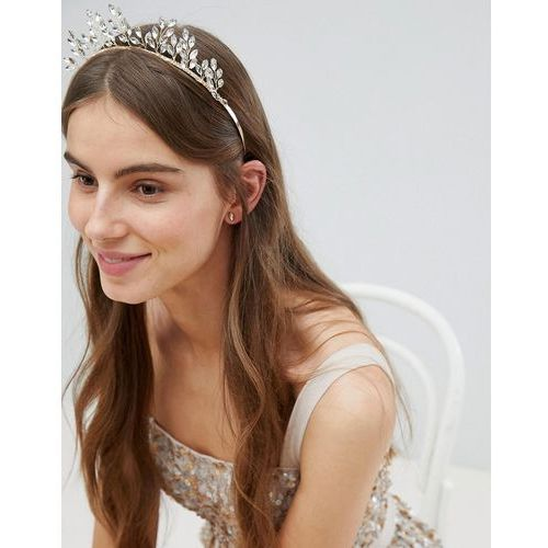 Stone & Rose Crystal Navette Crown - Gold