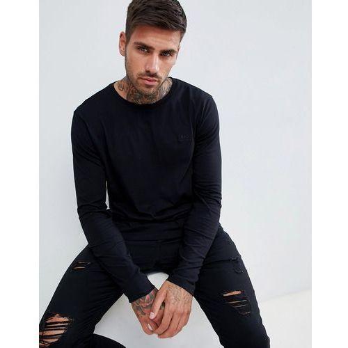 HUGO Derol long sleeve embroidered logo t-shirt in black - Black