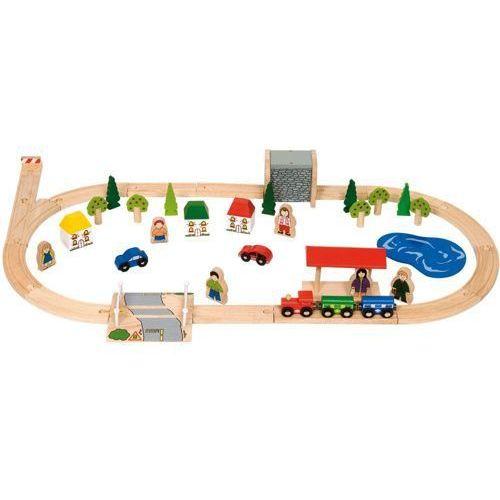 Kolejka Drewniana Bigjigs dla dzieci - małe miasteczko - 51 elementów