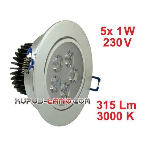 Lampa sufitowa wnękowa LED 5 x 1W, barwa biała ciepła, 171513