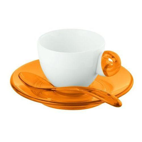 - komplet 2 filiżanek do espresso - art & cafe - pomarańczowe - pomarańczowe marki Guzzini
