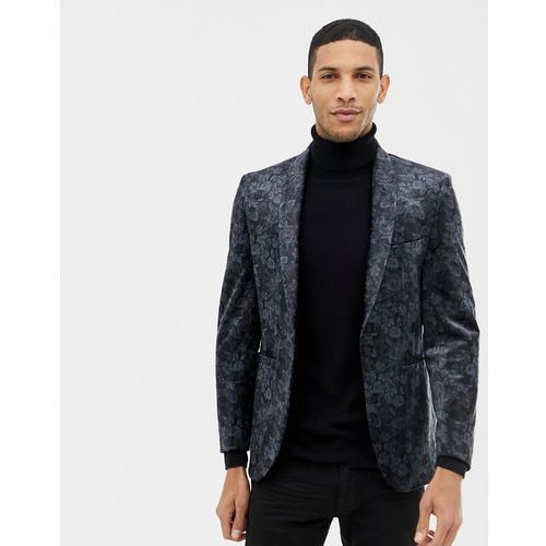 Burton menswear velvet floral printed blazer in black - black