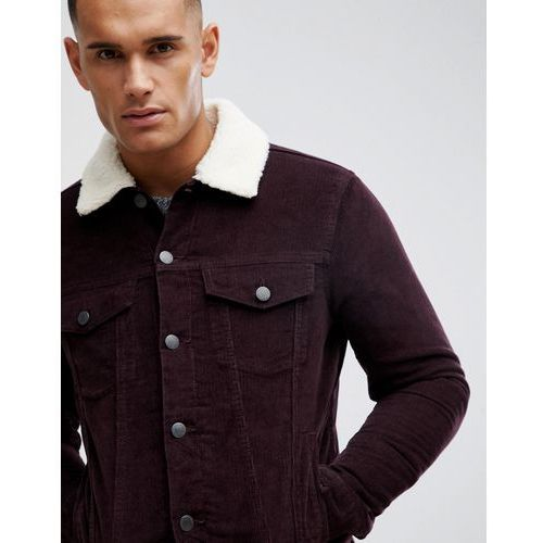 New Look corduroy jacket with borg lining in burgundy - Red