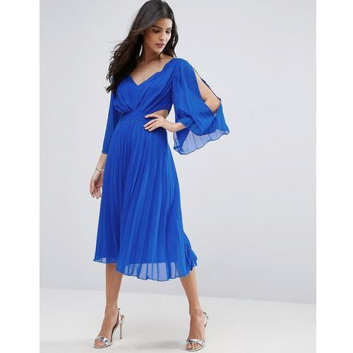 ASOS Side Cut Out Sleeved Pleated Midi Dress - Blue