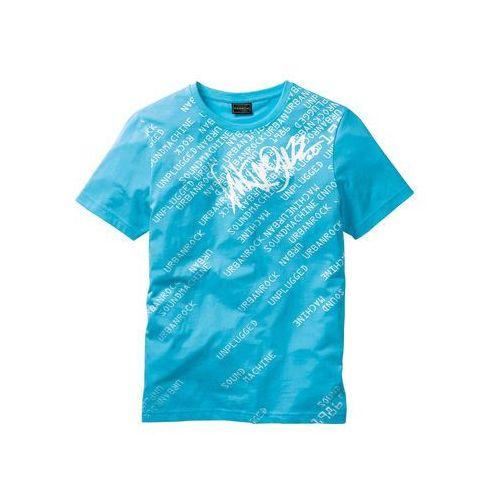 Bonprix T-shirt slim fit turkusowy