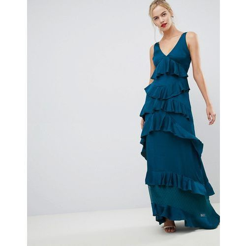 Y.A.S Ruffle Tiered Maxi Dress - Blue, w 4 rozmiarach