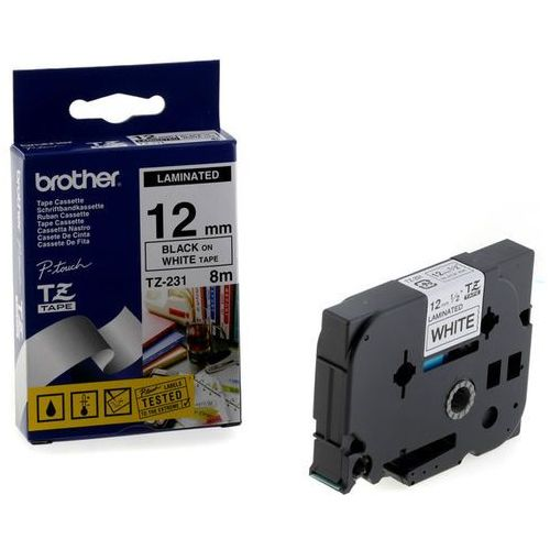 Brother Oryginał taśma  laminowana 12mm x 8m czarny nadruk / białe tło
