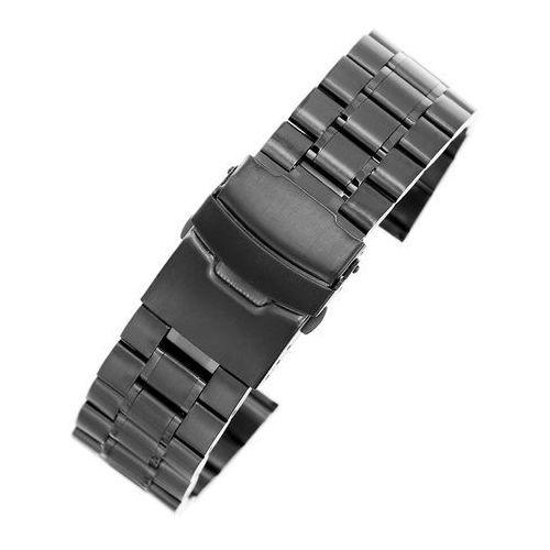 Czarna stalowa bransoleta do zegarka SB2402- 24 mm, kolor czarny
