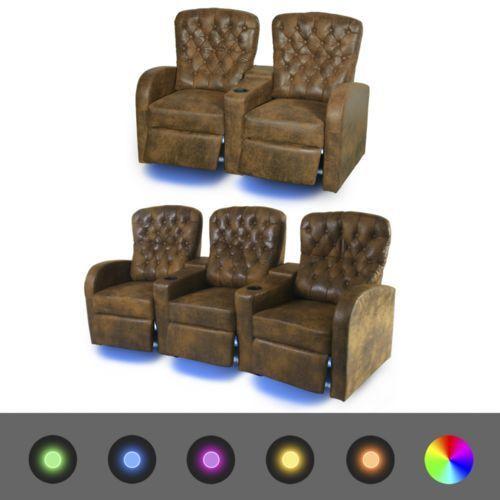 fotele kinowe 2 + 3 osobowe, brązowa, sztuczna skóra z podświetleniem led marki Vidaxl
