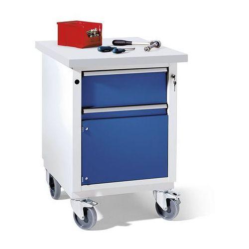 Kompaktowy stół warsztatowy, blat uniwersalny, szer. x głęb. 605x650 mm, 1 szufl